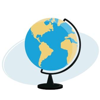 Векторная иллюстрация земного шара на тренировочном стенде