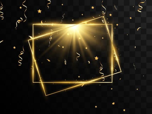 ブラシストロークで金フレームのベクトル図
