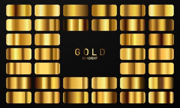 Векторная иллюстрация золотой градиент золотой квадратный набор сбора