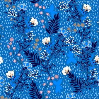 手のベクトルイラスト描画草原の花と葉。ハンドペイント水玉とのシームレスなベクターパターン