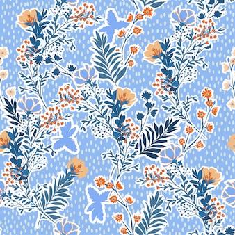 手のベクトルイラスト描画草原の花と葉。シームレスなベクトル