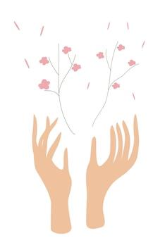 꽃을 들고 손의 벡터 일러스트 레이 션 묘목은 나무의 손에 자랍니다