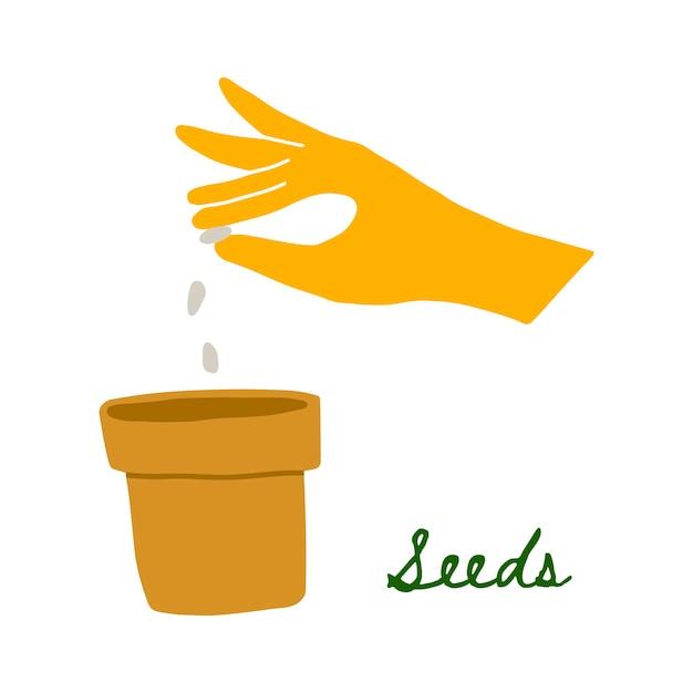 냄비에 씨앗을 심기 노란색 고무 장갑에 손의 벡터 일러스트 레이 션. 손으로 그리는 낙서 스타일. 정원 손은 야채를 재배합니다. 집과 마당