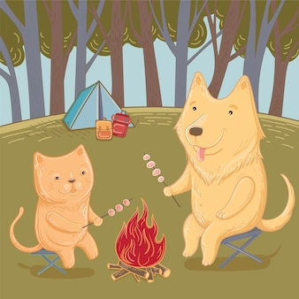강아지와 고양이 숲에서 하이킹의 벡터 그림. 여름 재미. 인사말 카드 템플릿입니다.
