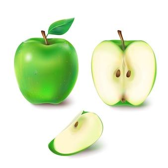 Векторная иллюстрация сочного зеленого яблока.