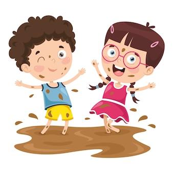 진흙에서 노는 아이의 벡터 일러스트 레이션