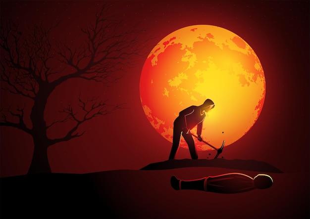 보름달 동안 희생자를 위해 무덤을 파는 후드티를 입은 살인자의 벡터 그림