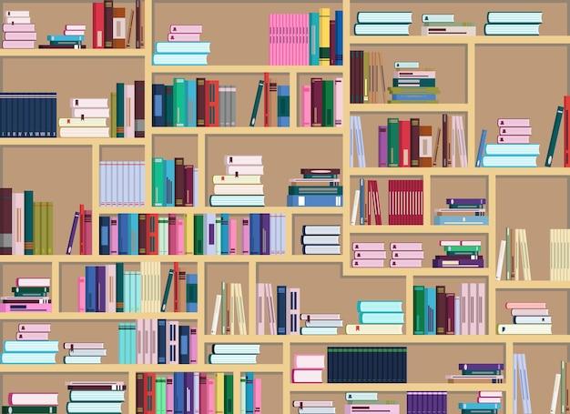 많은 다채로운 책으로 가득 찬 큰 책장의 벡터 그림. 책이 다르게 배열되어 있다