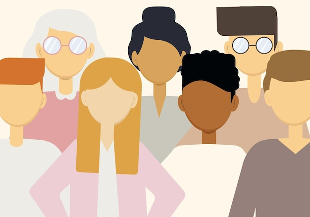 Векторная иллюстрация большого количества людей разных национальностей. население земли