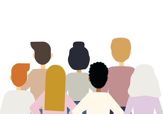 Векторная иллюстрация большого количества людей разных национальностей, стоящих спиной