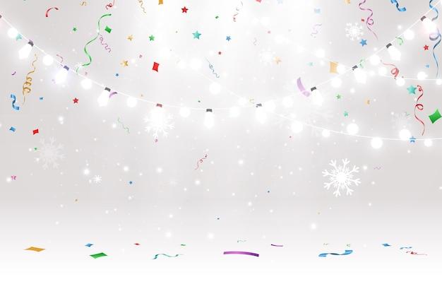 Векторная иллюстрация легкой гирлянды на прозрачном фоне