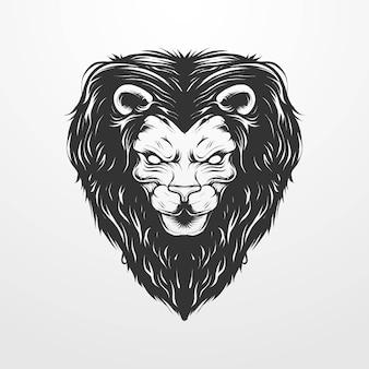 빈티지 클래식, 빈티지 스타일의 원형 장식이 있는 사자 머리의 벡터 그림. 티셔츠, 지문, 로고 및 기타 의류 제품에 적합