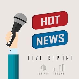 Vector иллюстрация репортажа в прямом эфире с новостями кнопки и микрофоном.