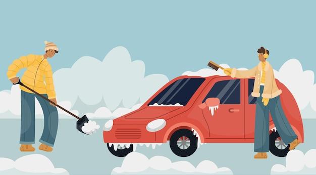 駐車場で雪を掃除する冬の服を着た男のベクトルイラスト。男が車のブラシで雪を一掃します。