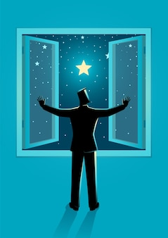 맑은 별이 빛나는 밤하늘을 볼 수있는 넓은 창을 여는 남자의 벡터 일러스트 레이션