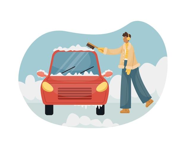자동차에서 브러시로 눈을 쓸고 있는 남자의 벡터 그림.