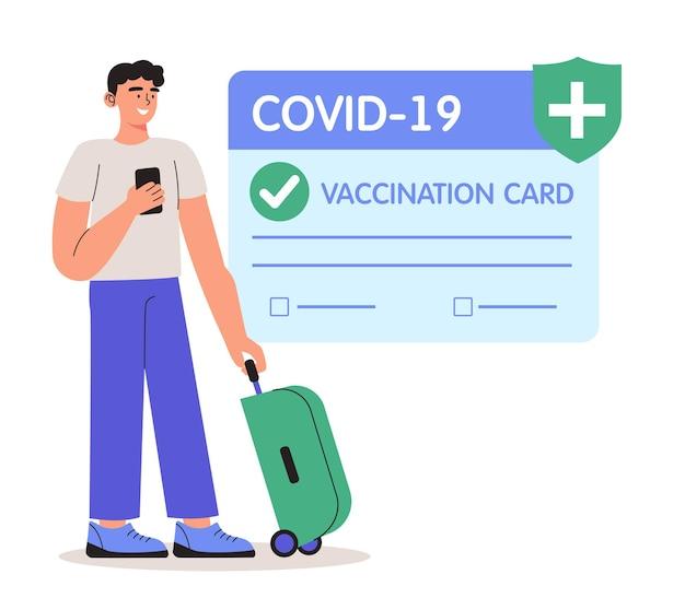 Векторная иллюстрация человека, использующего паспорт здоровья вакцинации от covid-19. безопасное путешествие в условиях пандемии. концепция сертификата вакцинации, вакцины против коронавируса, приложения для удостоверения личности covid-19.
