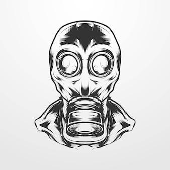 古典的な、ヴィンテージ、ヴィンテージスタイルのモノクロヘルメットマスクを身に着けている男のベクトルイラスト。 tシャツ、プリント、ロゴ、その他のアパレル製品に適しています
