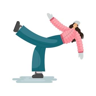 Векторная иллюстрация человека, который поскользнулся на льду на тротуаре.