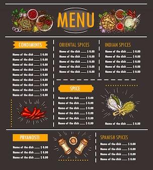 様々なハーブ、スパイス、調味料、調味料の特別なオファーを持つメニューのベクトル図