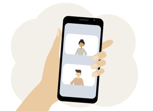 オンライン会議を描いた手に携帯電話のベクトルイラスト。