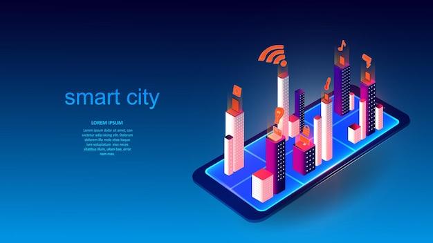 スマートシティの建物や要素を備えた携帯電話のベクトルイラスト。科学、未来、ウェブ、ネットワークコンセプト、コミュニケーション、ハイテク。 eps 10
