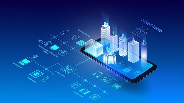 Векторная иллюстрация мобильного телефона со зданиями и элементами умного города. наука
