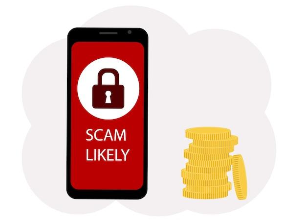Векторная иллюстрация мобильного телефона с текстом вероятного мошенничества, возле монет