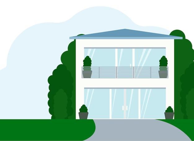 흰색으로 된 현대적인 세련된 2층 집의 벡터 그림