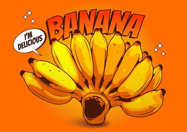 Векторная иллюстрация реалистичного рисунка зеленого банана в стиле комиксов.