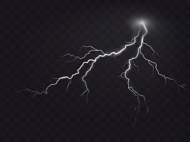 Векторные иллюстрации реалистичный стиль яркие светящиеся молнии, изолированных на темный, естественный световой эффект.