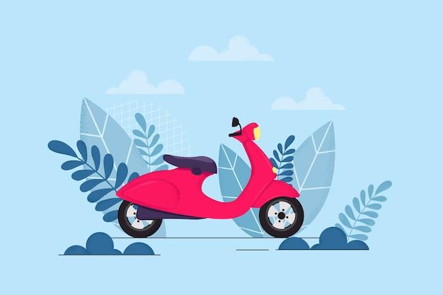 Векторная иллюстрация красный мопед с листьями и ветвями