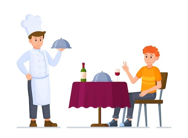 レストランのコンセプトのベクトルイラスト。テーブルクロス、ワイン、グラス、クローシュの下の皿を備えた予約済みのモダンなレストランのテーブル。仕事帰りにレストランで夕食。レクリエーション。