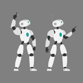 ロボットのベクトルイラスト。未来的な白いロボット。灰色の背景に分離。未来の概念、人工知能と技術。
