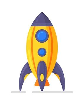 흰색 배경에 고립 된 로켓 우주선의 벡터 일러스트 레이 션. 어린이 장난감. 평면 디자인 스타일에 로켓 우주선의 아이콘입니다.