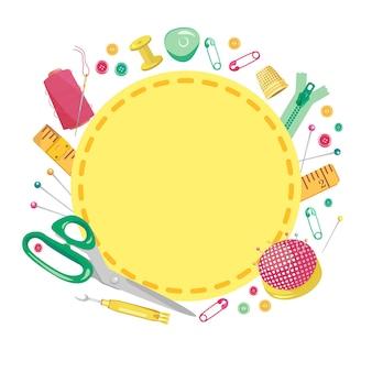 縫製ツールの丸い色のフレームのベクトルイラスト。クラフトデザインの背景を調整します。手作りのアクセサリー、針、はさみ、指ぬき、ボタン、ピン。