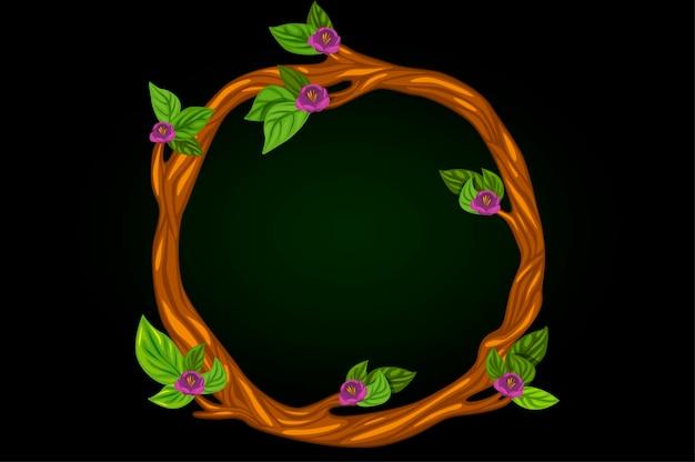 분기의 둥근 꽃 화 환의 벡터 그림. 카드 꽃 라운드 화 환.
