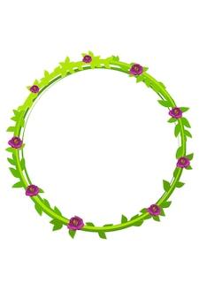 丸い緑の花輪のベクトルイラスト。葉と漫画の美しい春の花輪。