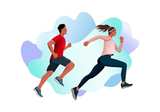 実行中の男性ランナーアスリートスポーツ男性と女性のベクトル図