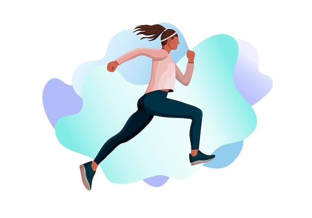 実行中の男性ランナーアスリートスポーツ女性のベクトル図