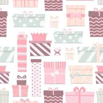 さまざまな形や色のかわいいギフトのシームレスなパターンのベクトルイラスト。繊細な色の弓が付いた箱。お祝いの背景の漫画の装飾。