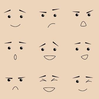 さまざまな感情のセットのベクトルイラスト。幸福、恐れ、恐れ、怒り、愛、幸福の思慮深さ