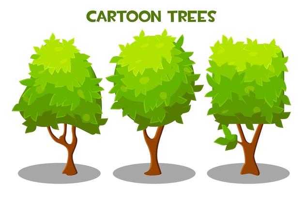 다른 모양의 푸른 나무 세트의 벡터 일러스트 레이 션. 녹색 잎을 가진 고립 된 나무의 컬렉션입니다.