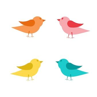 여러 가지 빛깔된 새의 집합의 벡터 일러스트 레이 션. 흰색 배경에 고립.
