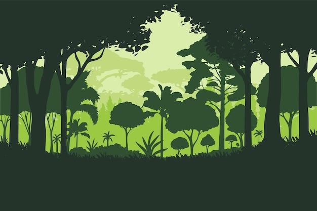 Векторная иллюстрация силуэт зеленые джунгли пейзаж