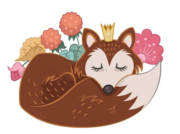 Векторная иллюстрация спящей лисы