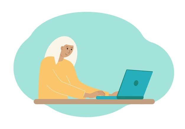 Векторная иллюстрация стильной женщины, работающей на ноутбуке.