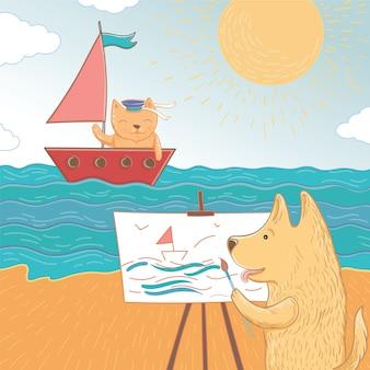 海で夏休みのベクトルイラスト。素敵な犬と猫は休日を海で過ごします。グリーティングカードのテンプレートです。