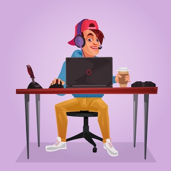 Vector illustration of a teenager sitting at laptop
