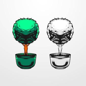 Векторная иллюстрация дерева с вазой, изолированные в винтажном, старом, монохромном стиле. подходит для футболок, принтов, логотипов и другой одежды